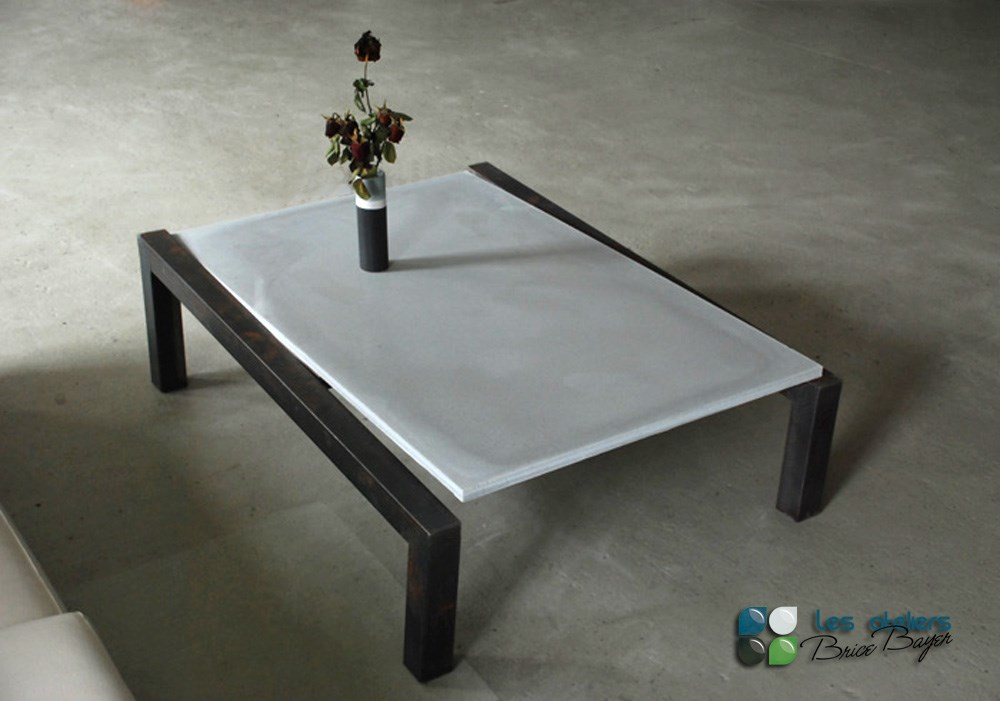 Table basse finition beton - Table basse beton ...